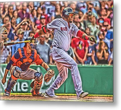 David Ortiz Boston Red Sox Oil Art 1 Metal Print