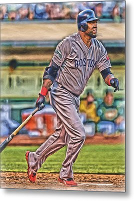 David Ortiz Boston Red Sox Oil Art 2 Metal Print