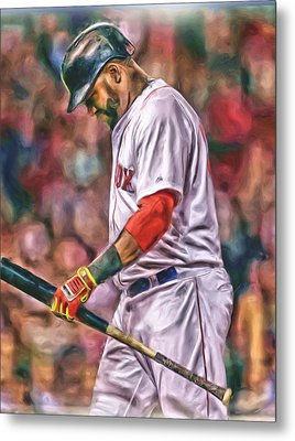David Ortiz Boston Red Sox Oil Art 4 Metal Print