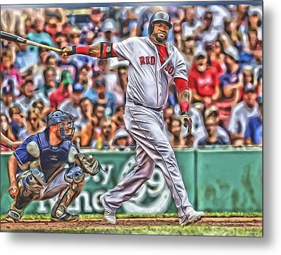David Ortiz Boston Red Sox Oil Art 5 Metal Print