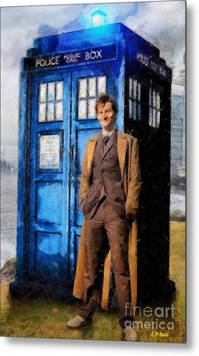 David Tennant As Doctor Who And Tardis Metal Print by Elizabeth Coats