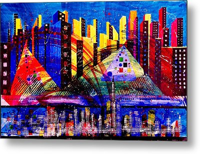 Day And Night Cityscape Metal Print