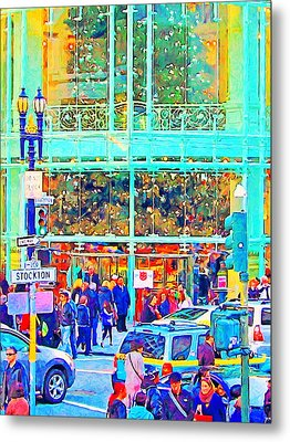 Day Before Christmas At Neiman Marcus . Photoart Metal Print by Wingsdomain Art and Photography