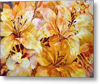 Day-lilies Metal Print by Nancy Newman