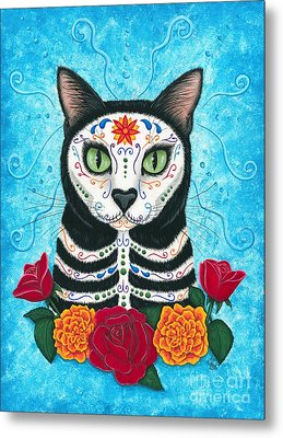 Metal Print featuring the painting Day Of The Dead Cat - Sugar Skull Cat by Carrie Hawks