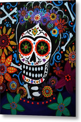 Day Of The Dead Frida Kahlo Painting Metal Print by Pristine Cartera Turkus