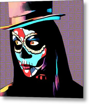 Day Of The Dead Skull Woman Wearing Top Hat Metal Print