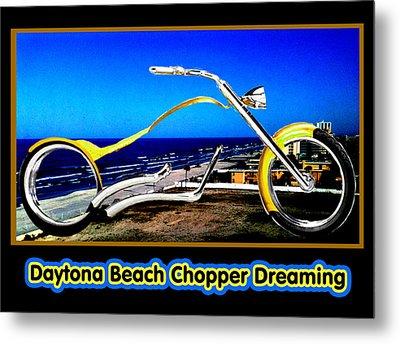 Daytona Beach Chopper Dreaming Yellow Gold Jgibney The Museum Metal Print by The MUSEUM Artist Series jGibney