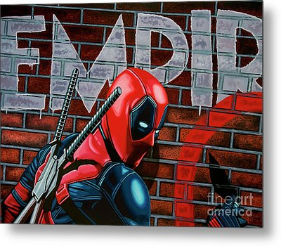 Deadpool Painting Metal Print by Paul Meijering