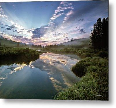 Deadwood River Reflection Sunrise Metal Print by Leland D Howard