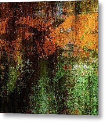 Decadent Urban Brick Green Orange Grunge Abstract Metal Print