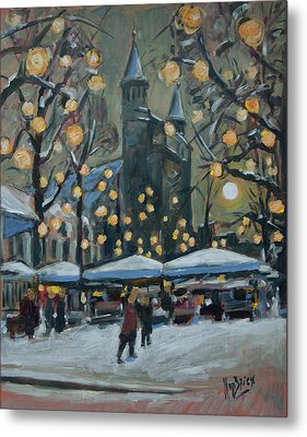 December Lights At The Our Lady Square Maastricht 2 Metal Print by Nop Briex