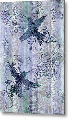 Deco Hummingbird Blue Metal Print by JQ Licensing