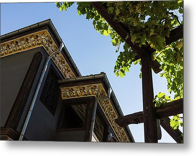 Decorated Eaves And Grapes Trellis - Old Town Plovdiv Bulgaria Metal Print by Georgia Mizuleva