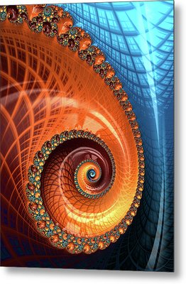 Metal Print featuring the digital art Decorative Fractal Spiral Orange Coral Blue by Matthias Hauser