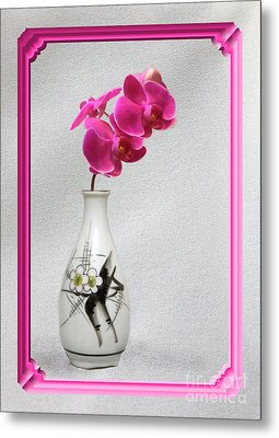 Metal Print featuring the photograph Deep Pink  Orchids by Linda Phelps