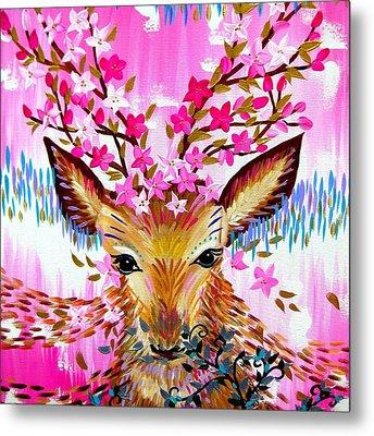 Deer In Fresh Pink Metal Print by Cathy Jacobs