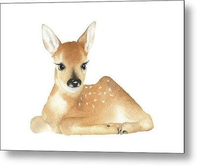 Metal Print featuring the painting Deer Watercolor by Taylan Apukovska