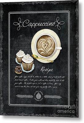 Deja Brew Chalkboard Coffee 3 Cappuccino Cupcakes Chocolate Recipe  Metal Print by Audrey Jeanne Roberts
