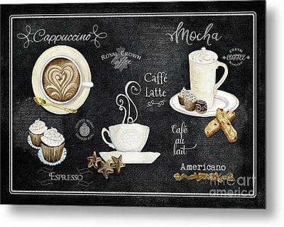 Deja Brew Chalkboard Coffee Cappuccino Mocha Caffe Latte Metal Print by Audrey Jeanne Roberts