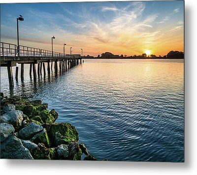Del Norte Pier And Spring Sunset Metal Print by Greg Nyquist