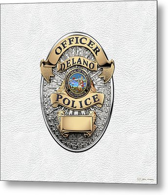 Delano Police Department - Officer Badge Over White Leather Metal Print