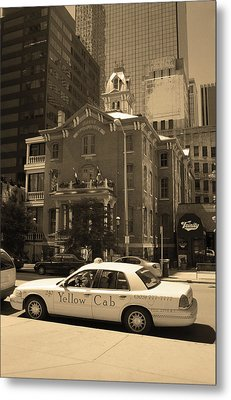Metal Print featuring the photograph Denver Downtown With Yellow Cab Sepia by Frank Romeo