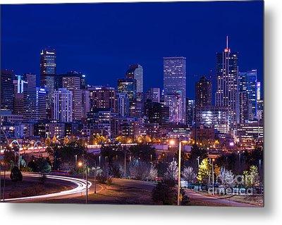 Denver Skyline At Night - Colorado Metal Print