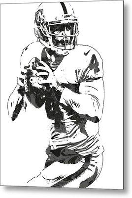 Derek Carr Oakland Raiders Pixel Art Metal Print