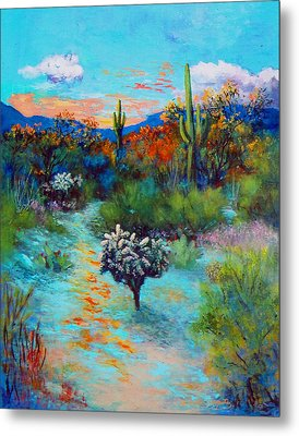Metal Print featuring the painting Desert At Dusk by M Diane Bonaparte