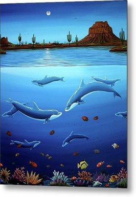 Desert Dolphins Close  Metal Print by Lance Headlee