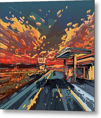 Desert Road Landscape 2 Metal Print