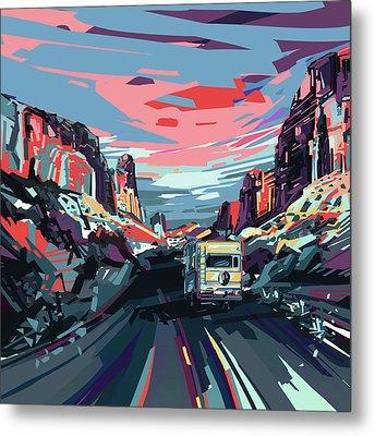 Desert Road Landscape Metal Print