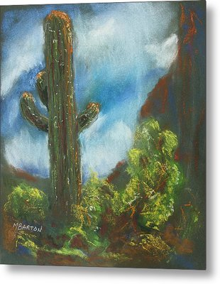 Metal Print featuring the painting Desert Sentinel by Marilyn Barton