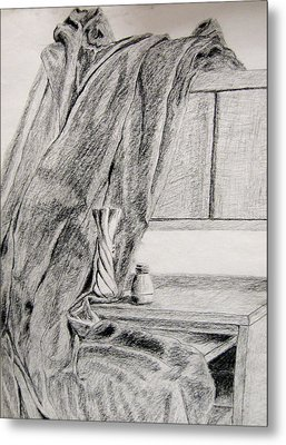 Desk And Curtain Metal Print by Diana Prout