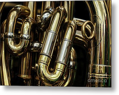 Detail Of The Brass Pipes Of A Tuba Metal Print