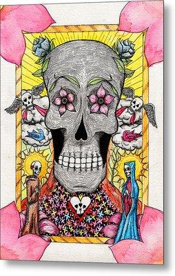 Metal Print featuring the painting Dia De Los Muertos by Josean Rivera