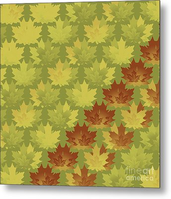 Metal Print featuring the digital art Diagonal Leaf Pattern by Methune Hively