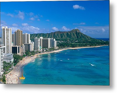 Diamond Head And Waikiki Metal Print by William Waterfall - Printscapes