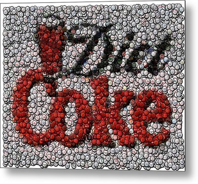 Diet Coke Bottle Cap Mosaic Metal Print by Paul Van Scott