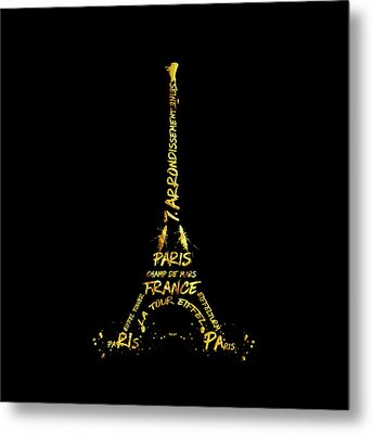 Digital-art Eiffel Tower - Black And Golden Metal Print