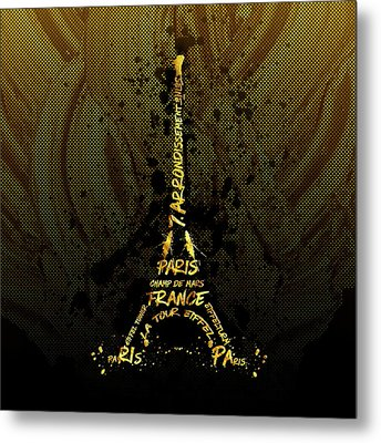 Digital-art Eiffel Tower - Golden Flames Metal Print