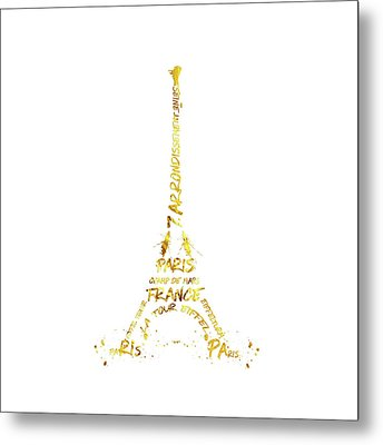 Digital-art Eiffel Tower - White And Golden Metal Print