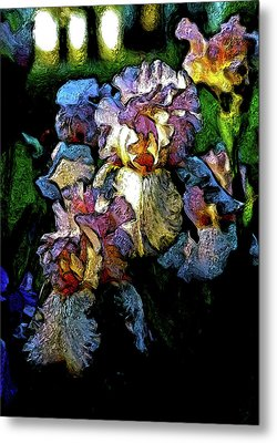 Digital Expressionist Painting Pale Pink Irises 6702 W_4 Metal Print