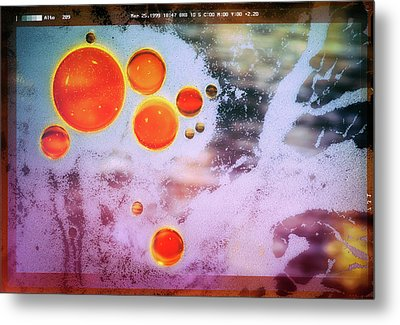 Metal Print featuring the photograph Digital Virus Orange One Bubbles by John Williams