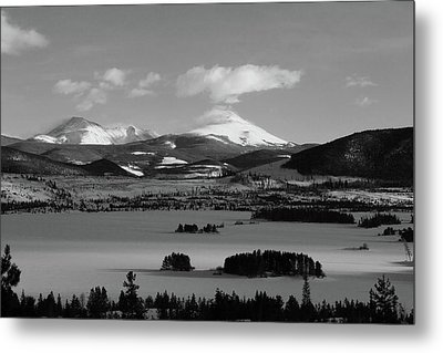 Metal Print featuring the photograph Dillon In Winter Bw by Marie Leslie