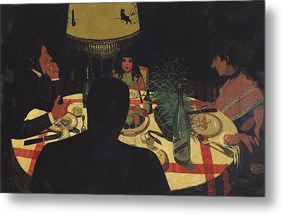 Dinner By Lamplight Metal Print by Felix Edouard Vallotton
