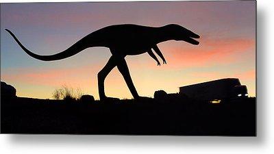 Dinosaur Loose On Route 66 Metal Print by Mike McGlothlen