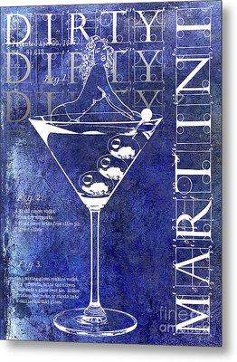 Dirty Dirty Martini Patent Blue Metal Print