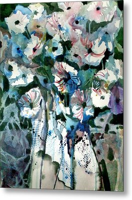 Metal Print featuring the painting Disney Petunias by Mindy Newman